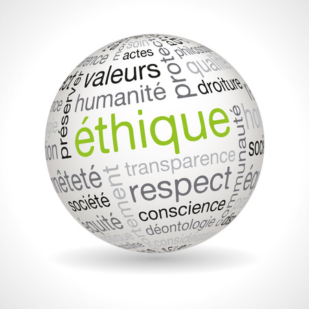 humanoid: French ethics theme sphere with keywords full vector