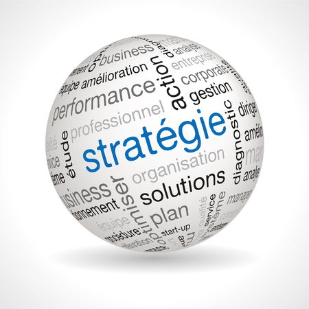 lexical: French Strategy theme sphere with keywords full vector