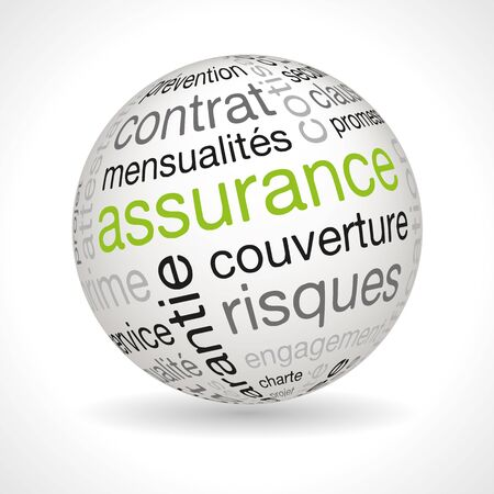insurance policy: French insurance policy theme sphere with keywords full vector