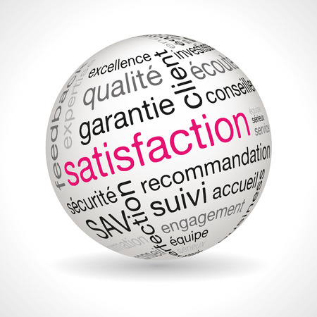 keywords: French satisfaction theme sphere with keywords full vector