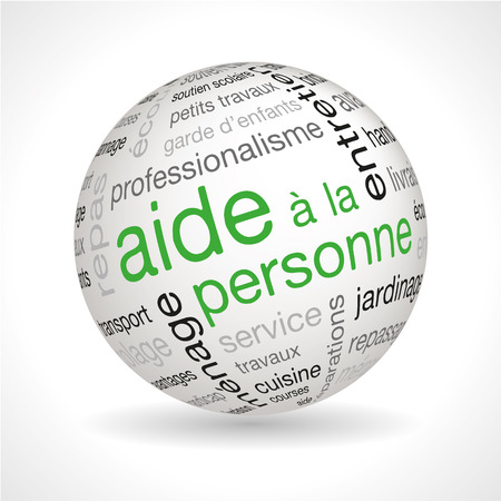 assignments: French personnal assistance theme sphere with keywords full vector Illustration