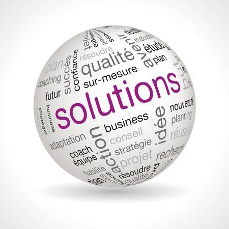 keywords: French Solutions theme sphere with keywords full vector