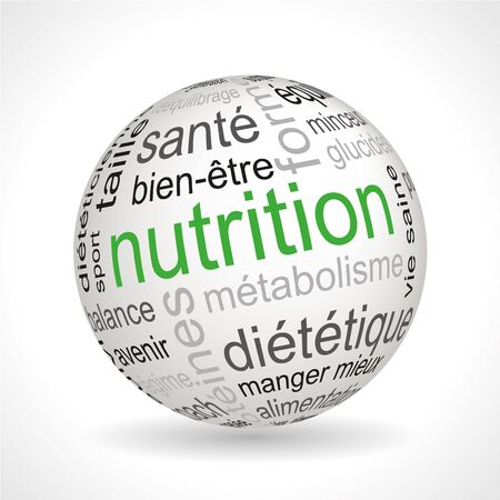 French Nutrition theme sphere with keywords full vector