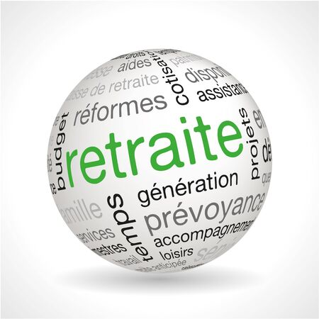 keywords: French Retirement theme sphere with keywords full vector