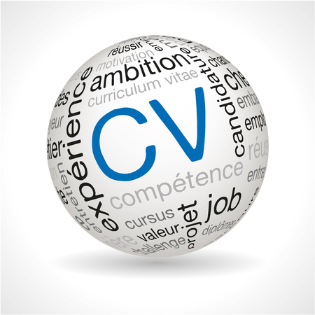 French CV theme sphere with keywords full vector