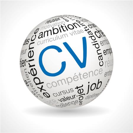 CV français thème sphère avec des mots-clés pleine vecteur Banque d'images - 46751389