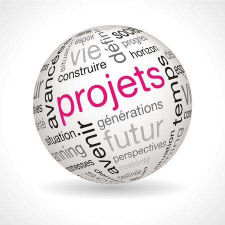 French Projects theme sphere with keywords full vector Illustration