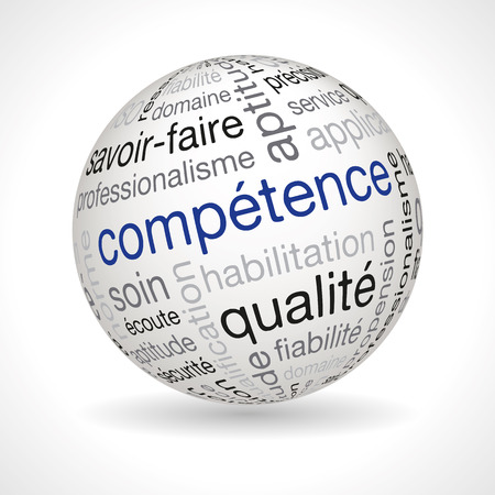 Francuski kompetencje motyw kuli słów kluczowych pełne wektorowej Ilustracje wektorowe