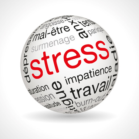 nervousness: French stress theme sphere with keywords full vector Illustration