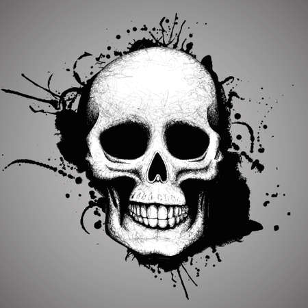 Skull and ink stains Hand made vector illustration