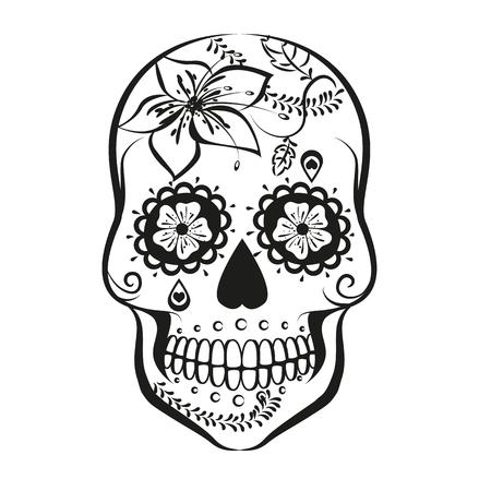 白い背景に分離されたベクトル砂糖頭蓋骨