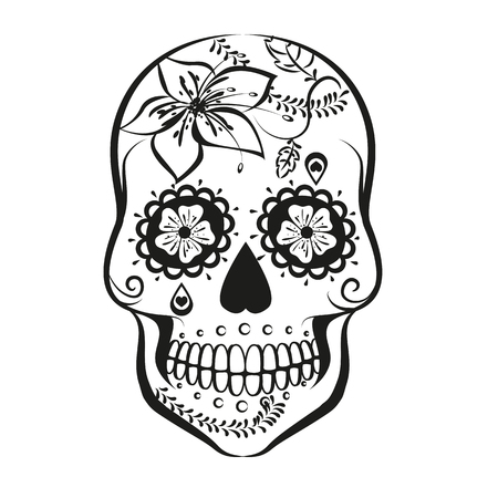 Vector Sugar skull isolated on white background Иллюстрация