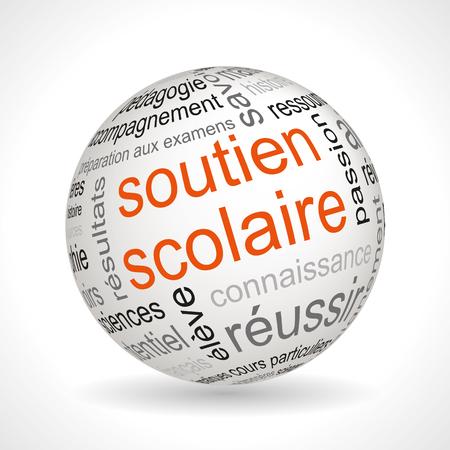 keywords: French tutoring theme sphere with keywords full vector