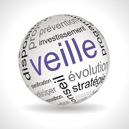 keywords: French business watch theme sphere with keywords full vector Illustration