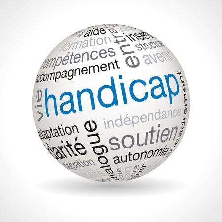 keywords: French disability theme sphere with keywords full vector