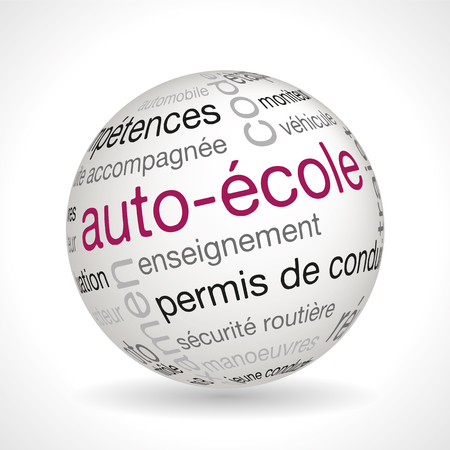 driving school: French Driving School theme sphere with keywords full vector
