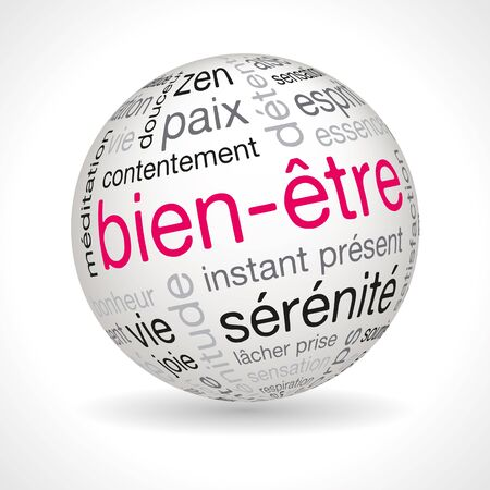 lexical: French wellness theme sphere with keywords full vector