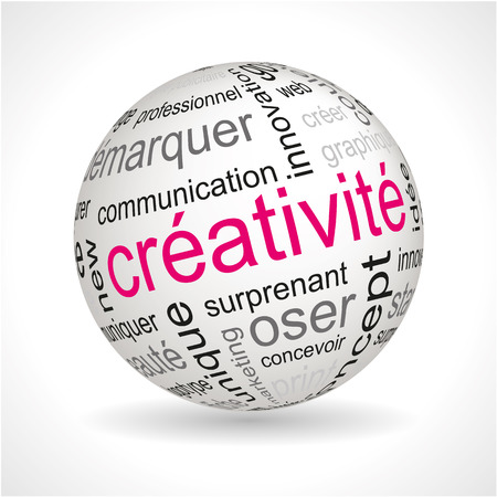 French creativity theme sphere with keywords full vector