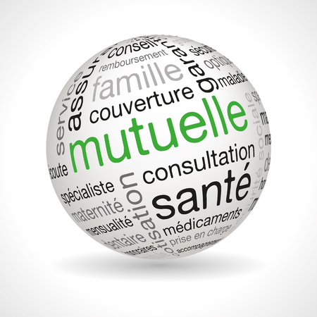French mutual theme sphere with keywords full vector