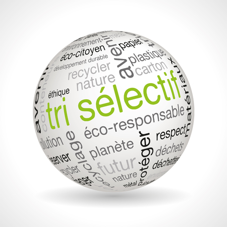 French waste sorting theme sphere with keywords full vector Illustration