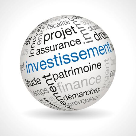 keywords: French investment theme sphere with keywords full vector