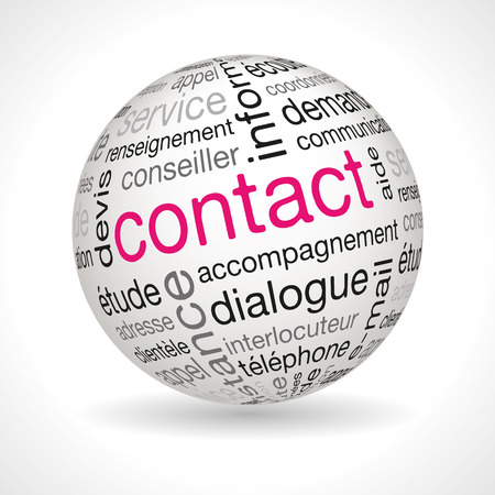 contact details: French contact theme sphere with keywords full vector