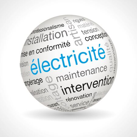 keywords: French electricity theme sphere with keywords full vector