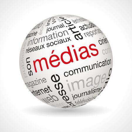 keywords: French media theme sphere with keywords full vector