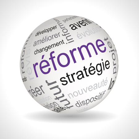 reform: French reform theme sphere with keywords full vector Illustration