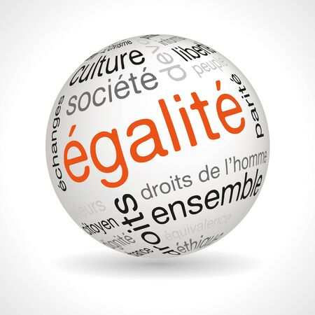 lexical: French equality theme sphere with keywords full vector