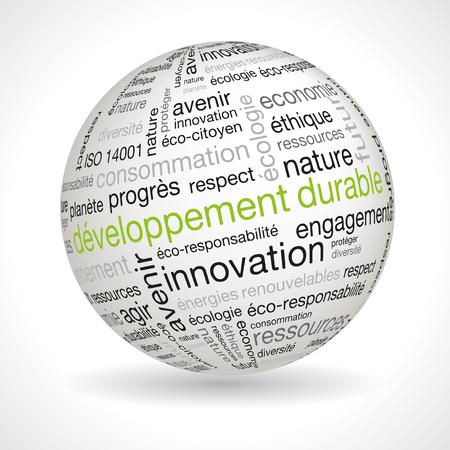 desarrollo sostenible: Francés desarrollo sostenible tema esfera con palabras clave completa de vectores