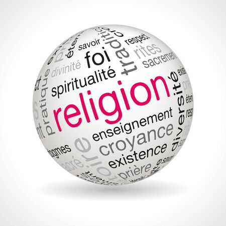 keywords: French religion theme sphere with keywords full vector