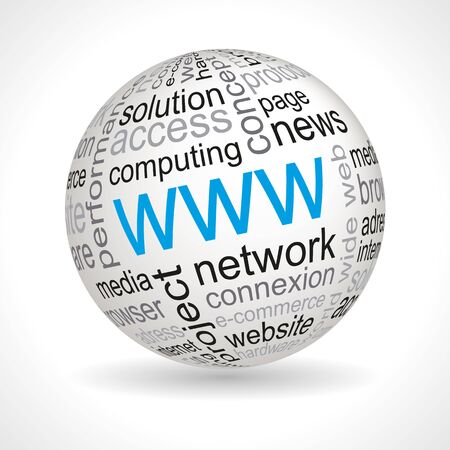 WWW theme sphere with keywords full vector