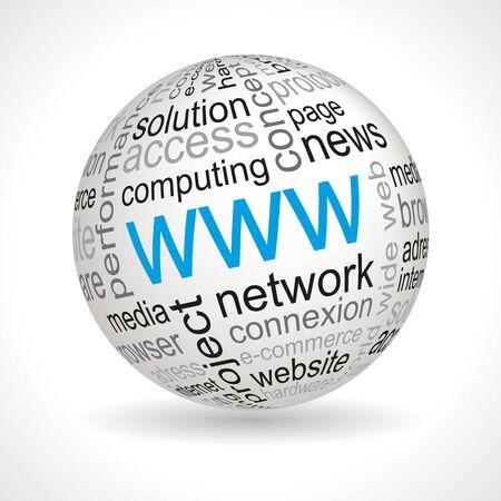 keywords: WWW theme sphere with keywords full vector