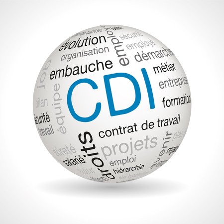 keywords: French CDI theme sphere with keywords full vector