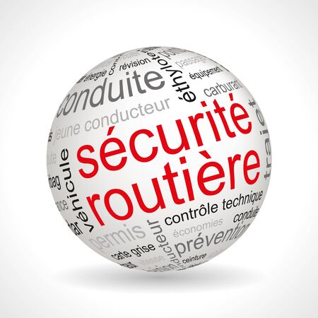keywords: French road safety theme sphere with keywords full vector