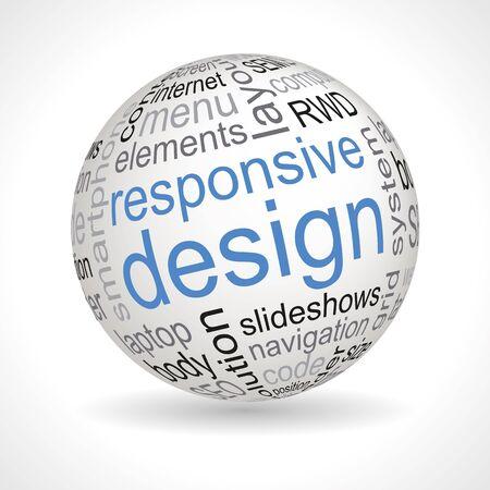 Responsive design theme sphere with keywords full vector