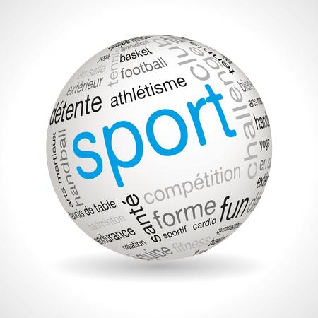 keywords: French sport theme sphere with keywords full vector