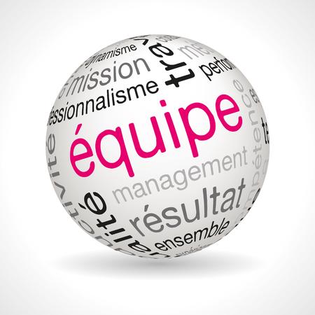 keywords: French team theme sphere with keywords full vector