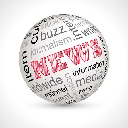 keywords: News theme sphere with keywords full vector