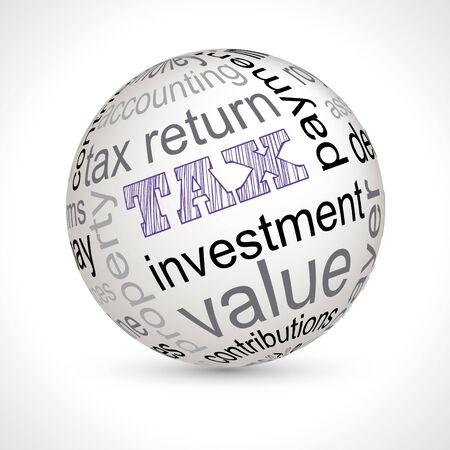 money sphere: Tax theme sphere with keywords full vector
