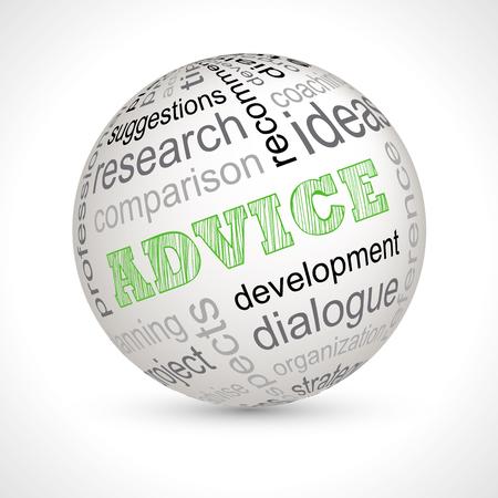 keywords: Advice theme sphere with keywords full vector