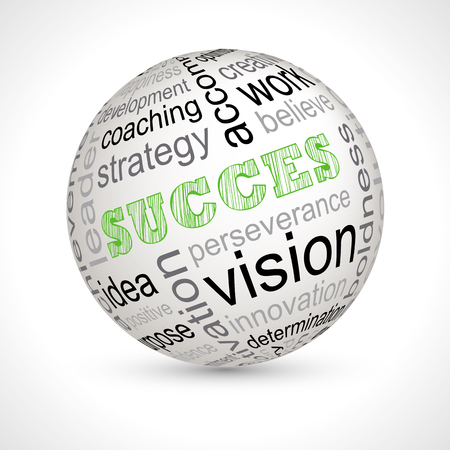 boldness: Success theme sphere with keywords full vector