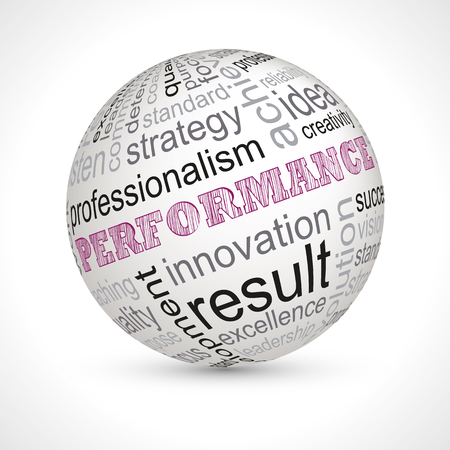 professionalism: Performance theme sphere with keywords full vector