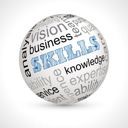 keywords: skills theme sphere with keywords full vector