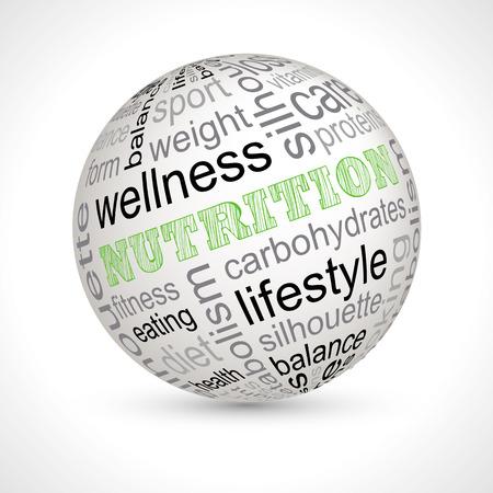lexical: Nutrition theme sphere with keywords full vector