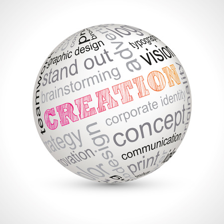 originality: Creation theme sphere with keywords full vector