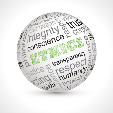 professionalism: Ethics theme sphere with keywords full vector