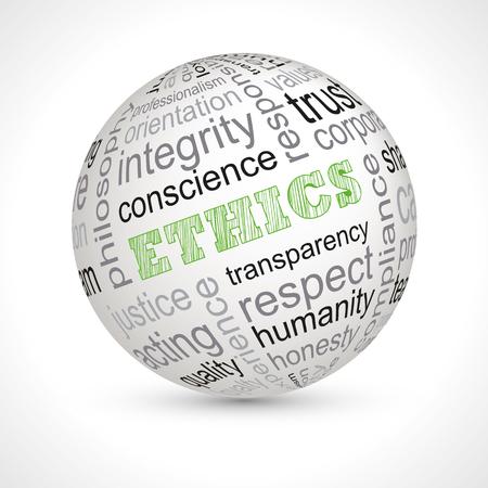 Etyka tematem pełna sfera słów kluczowych wektora Ilustracje wektorowe