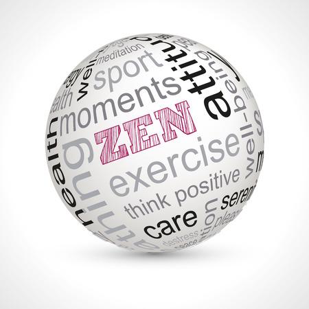 breathing exercise: Zen theme sphere with keywords full vector Illustration